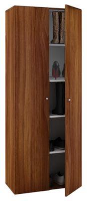 VCM Schuhschrank Schuhregal Schuhkommode Standschrank Universal Schrank Regal Vandol 5 Fächer (Farbe: Mit Türen: Kern-Nussbaum)
