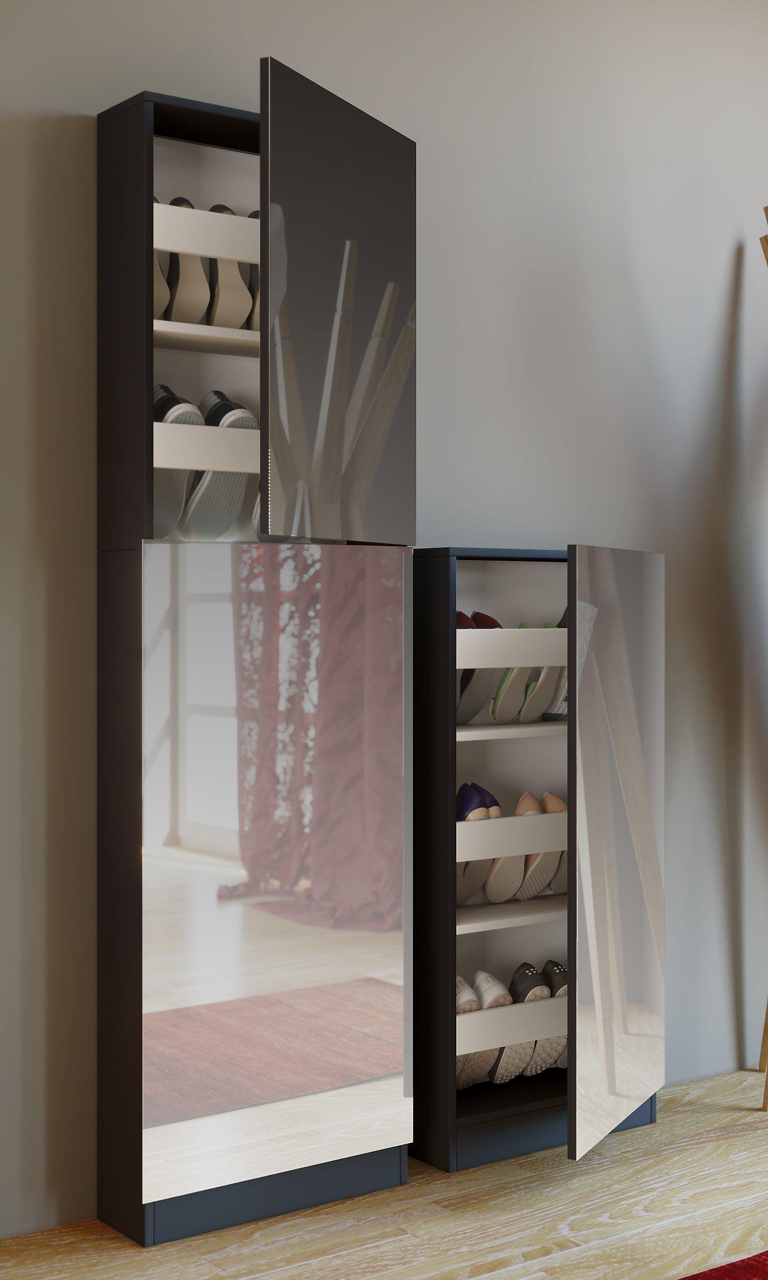 Vcm Schuhschrank Schuhregal Schuhkommode Spiegel Spiegeltur Schrank