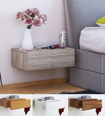 VCM Wand - Nachttisch Tisch Nachtschrank Nachtkonsole Wandboard Regal Dormas (Farbe: Schwarz)
