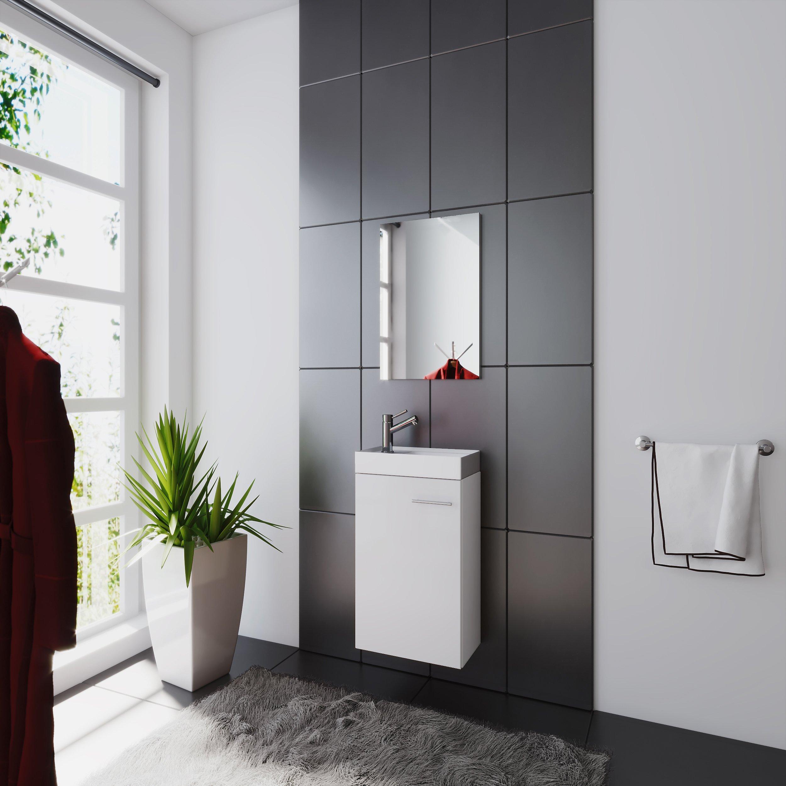 Vcm Waschplatz Waschbecken Schrank Spiegel Wc Gaste Toilette