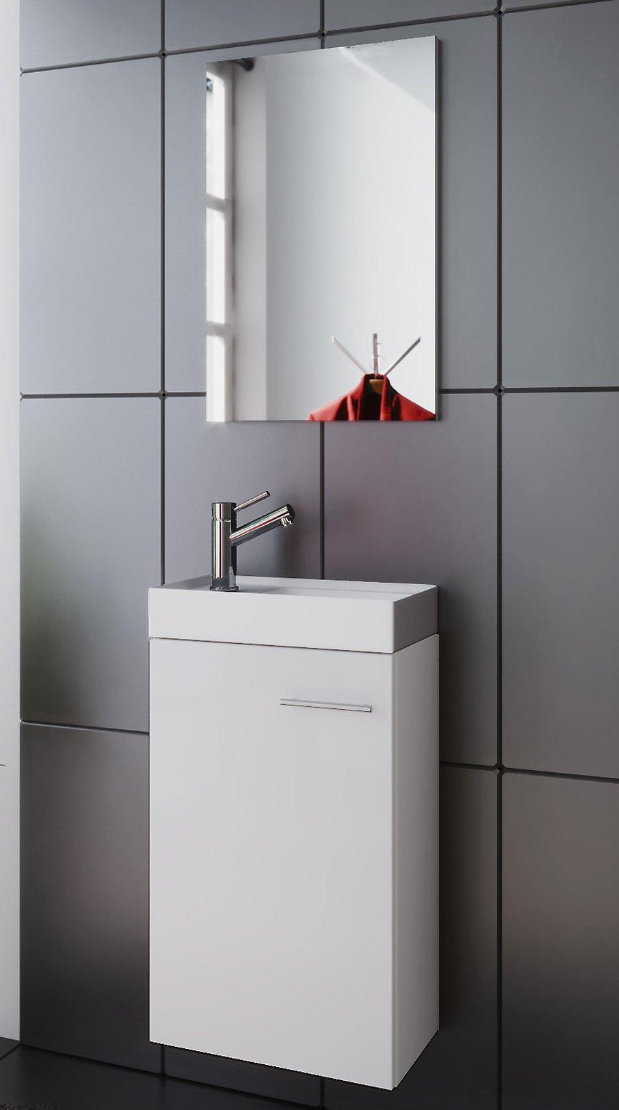 VCM Waschplatz Waschbecken Schrank + Spiegel WC Gäste Toilette ...