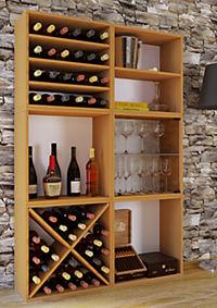 """VCM Wein-Regalserie Regal Weinregal Weinschrank Weinflaschen Schrank Holz Würfel Flaschen Aufbewahrung """"Weino"""" (Farbe: Weino lll: Buche) - Produktdetailbild 1"""