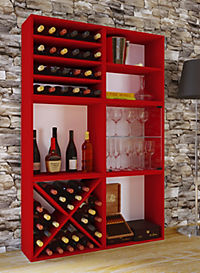 "VCM Wein-Regalserie Regal Weinregal Weinschrank Weinflaschen Schrank Holz Würfel Flaschen Aufbewahrung ""Weino"" (Farbe: Weino l: Rot) - Produktdetailbild 1"