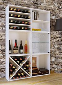 """VCM Wein-Regalserie Regal Weinregal Weinschrank Weinflaschen Schrank Holz Würfel Flaschen Aufbewahrung """"Weino"""" (Farbe: Weino lll: Weiß) - Produktdetailbild 1"""