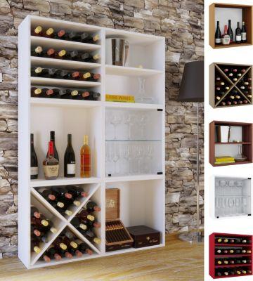VCM Wein-Regalserie Regal Weinregal Weinschrank Weinflaschen Schrank Holz Würfel Flaschen Aufbewahrung Weino (Farbe: Weino V: Kern-Nussbaum)