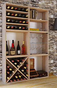 """VCM Wein-Regalserie Regal Weinregal Weinschrank Weinflaschen Schrank Holz Würfel Flaschen Aufbewahrung """"Weino"""" (Farbe: Weino lV: Sonoma-Eiche) - Produktdetailbild 1"""
