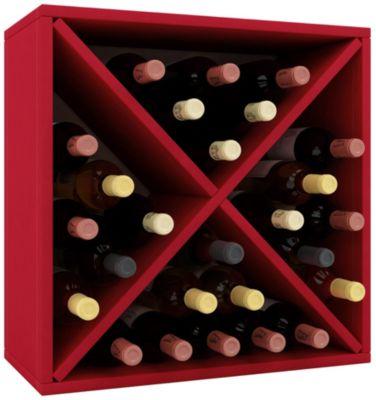 VCM Wein-Regalserie Regal Weinregal Weinschrank Weinflaschen Schrank Holz Würfel Flaschen Aufbewahrung Weino VCM Weinregal-Serie Weino (Farbe: Weino lll: Rot)
