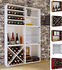 "VCM Wein-Regalserie Regal Weinregal Weinschrank Weinflaschen Schrank Holz Würfel Flaschen Aufbewahrung ""Weino"" VCM Weinregal-Serie Weino (Farbe: Weino ll: Kern-Nussbaum) - Produktdetailbild 1"
