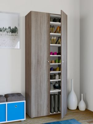 VCM XXL Schuhschrank Schuhregal Schuhkommode Standschrank Universal Schrank Regal Vandol 9 Fächer (Farbe: Mit Türen: Sonoma-Eiche (Sägerau))