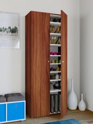 VCM XXL Schuhschrank Schuhregal Schuhkommode Standschrank Universal Schrank Regal Vandol 9 Fächer (Farbe: Mit Türen: Kern-Nussbaum)
