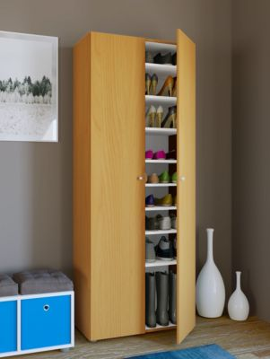 VCM XXL Schuhschrank Schuhregal Schuhkommode Standschrank Universal Schrank Regal Vandol 9 Fächer (Farbe: Mit Türen: Buche)