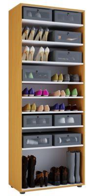 VCM XXL Schuhschrank Schuhregal Schuhkommode Standschrank Universal Schrank Regal Vandol 9 Fächer VCM Schuhschrank Vandol (Farbe: Ohne Türen: Buche)