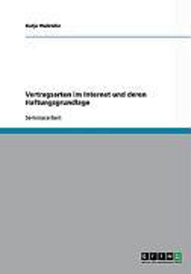 Vertragsarten Im Internet Und Deren Haftungsgrundlage Buch