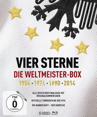 Vier Sterne - Die Weltmeister-Box - 1954 1974 1990 2014 / Alle deutschen Finalsiege mit Originalkommentaren von ARD und ZDF + Die offiziellen Turnierf