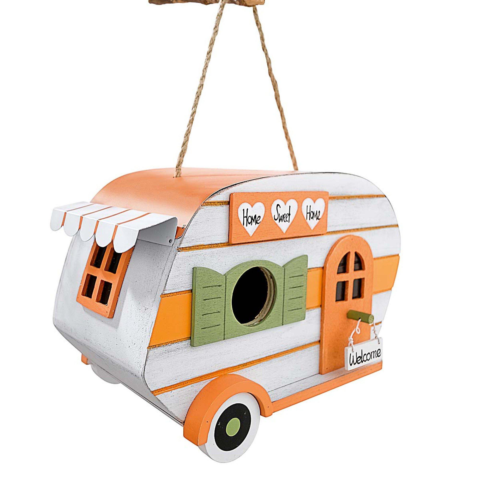 vogelhaus sweet aus holz in wohnwagen optik zum h ngen. Black Bedroom Furniture Sets. Home Design Ideas