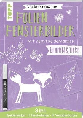 Vorlagenmappe Folien-Fensterbilder mit dem Kreidemarker - Blumen und Tiere - Pia Pedevilla  