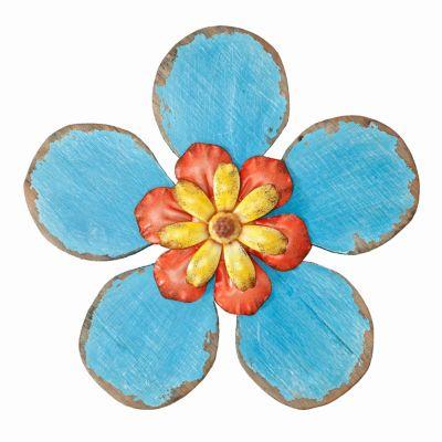 Wanddeko Holzblüte, blau