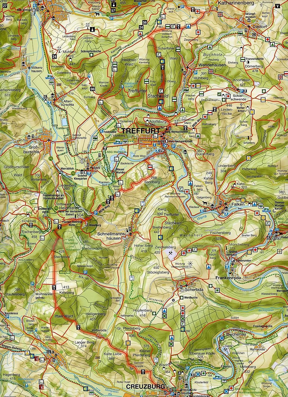 Thüringer Wald Karte.Wanderkarte Westlicher Thüringer Wald Nationalpark Hainich Buch