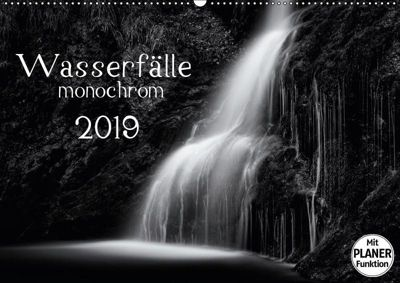 Wasserfälle - monochrom (Wandkalender 2019 DIN A2 quer), Kirsten Karius, Kirsten und Holger Karius