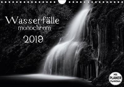 Wasserfälle - monochrom (Wandkalender 2019 DIN A4 quer), Kirsten Karius, Kirsten und Holger Karius