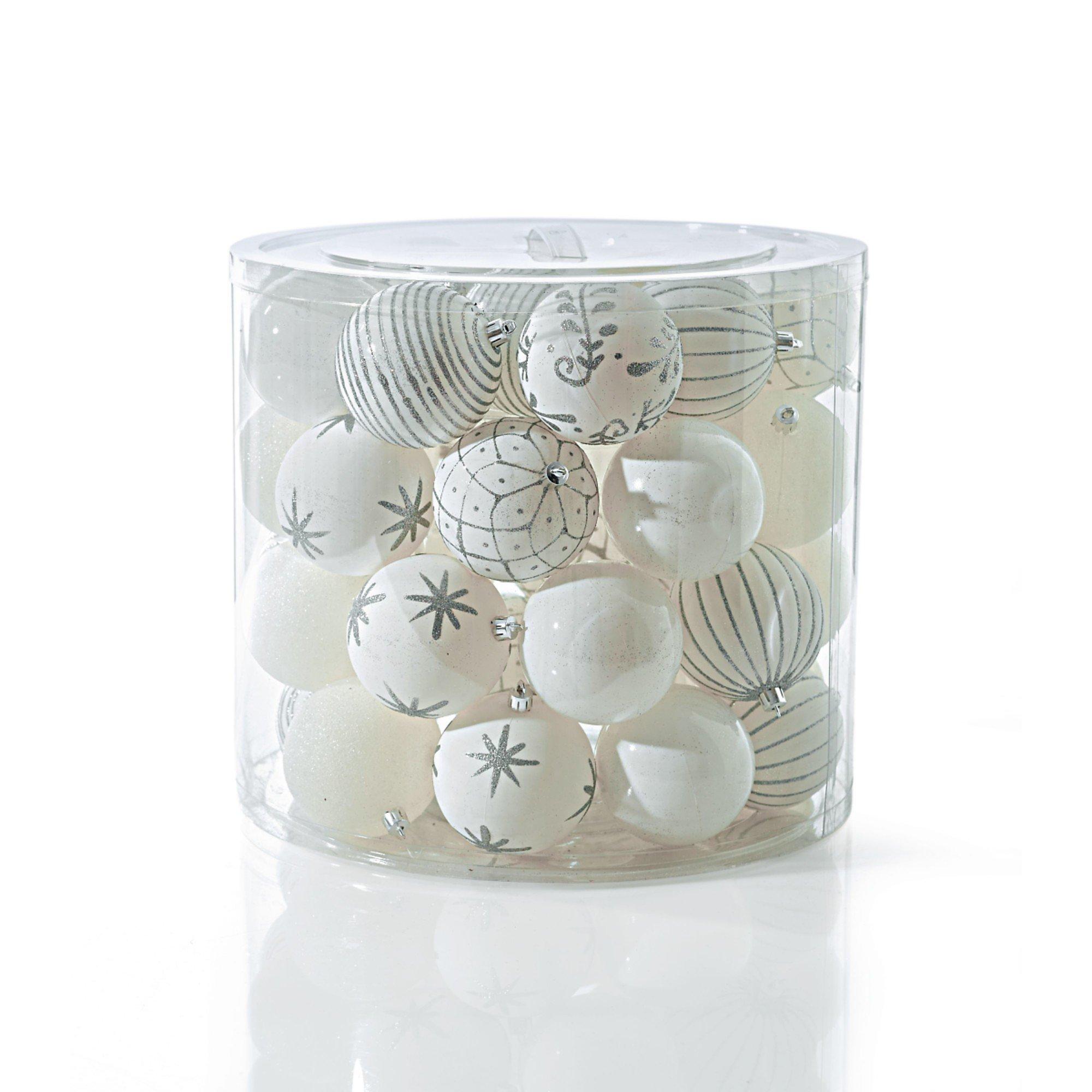 Weihnachtskugeln Weiß Silber.Weihnachtskugel Set 39 Tlg Weiß Silber Bestellen Weltbild De