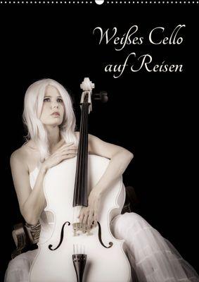 Weisses Cello auf Reisen (Wandkalender 2019 DIN A2 hoch), Ravienne Art