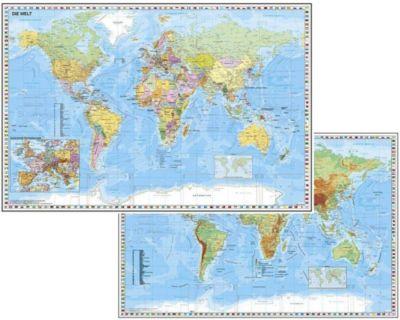 Weltkarte mit Ausschnitt Zentraleuropa / Weltkarte physisch, Heinrich Stiefel