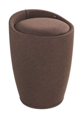 Wenko Hocker Candy Brown Leinenoptik, Badhocker, mit abnehmbarem Wäschesack