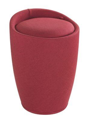 Wenko Hocker Candy Red Leinenoptik, Badhocker, mit abnehmbarem Wäschesack