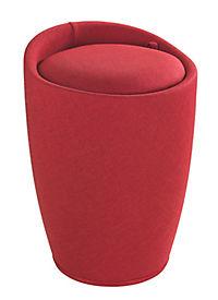 Wenko Hocker Candy Red Leinenoptik, Badhocker, mit abnehmbarem Wäschesack - Produktdetailbild 1