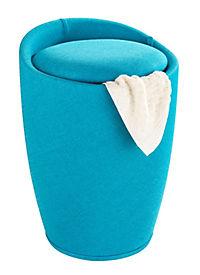Wenko Hocker Candy Turquoise Leinenoptik, Badhocker, mit abnehmbarem Wäschesack - Produktdetailbild 1