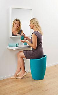 Wenko Hocker Candy Turquoise Leinenoptik, Badhocker, mit abnehmbarem Wäschesack - Produktdetailbild 3