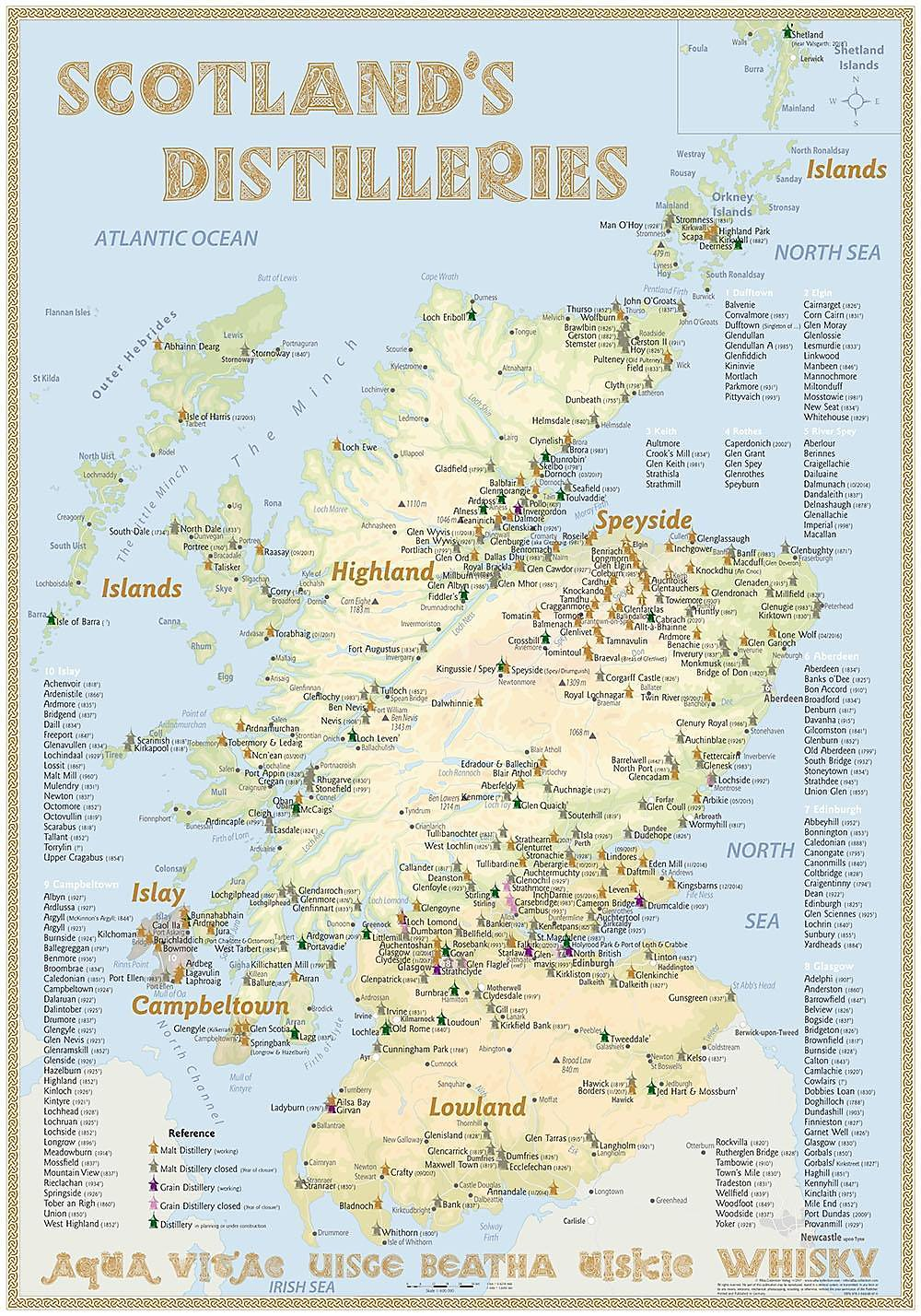 Whisky Karte Schottland.Whisky Distilleries Scotland Poster 70x100cm Standard Edition