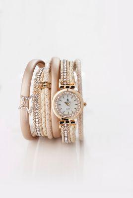 Wickelarmband mit Uhr creme