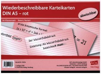 Wiederbeschreibbare Karteikarten DIN A5 - rot
