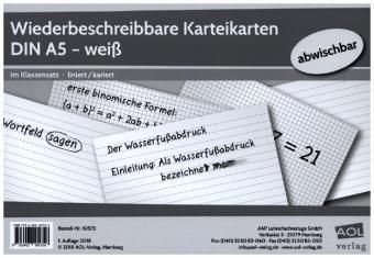 Wiederbeschreibbare Karteikarten DIN A5 - weiß