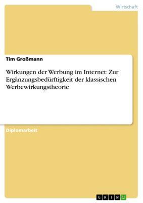 Wirkungen der Werbung im Internet: Zur Ergänzungsbedürftigkeit der klassischen Werbewirkungstheorie, Tim Großmann