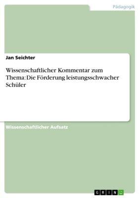 Wissenschaftlicher Kommentar zum Thema: Die Förderung leistungsschwacher Schüler, Jan Seichter