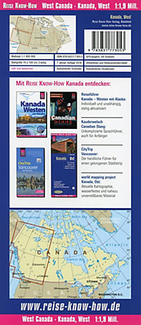World Mapping Project Reise Know-How Landkarte Kanada West (1:1.900.000); West Canada / Canada ouest / Canadá occidental - Produktdetailbild 1