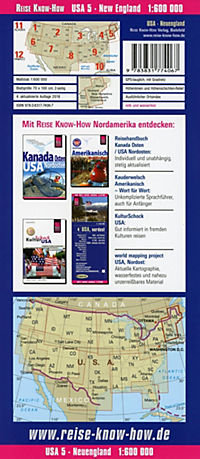 World Mapping Project Reise Know-How Landkarte USA, Neuengland / USA, New England - Produktdetailbild 1