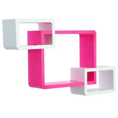 Würfelregal mit 3 Fächern (Farbe: rosa, weiß)