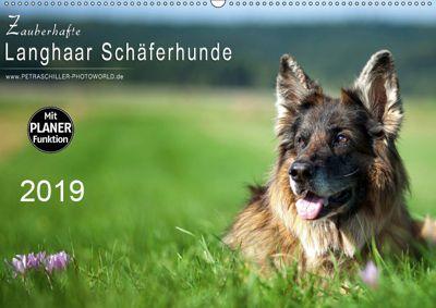 Zauberhafte Langhaar Schäferhunde (Wandkalender 2019 DIN A2 quer), Petra Schiller