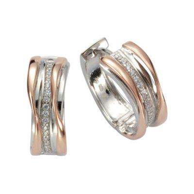 ZEEme Basic Creolen 925/- Sterling Silber rosévergoldet mit Zirkonia