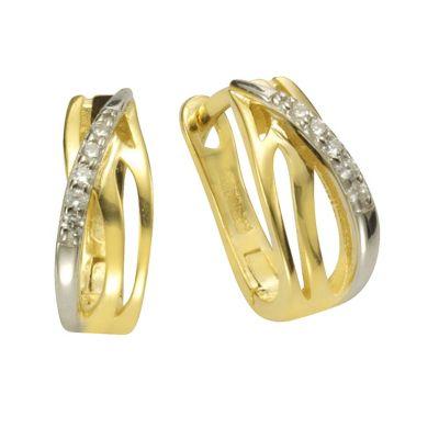 ZEEme Basic Creolen 925/- Sterling Silber vergoldet mit Zirkonia