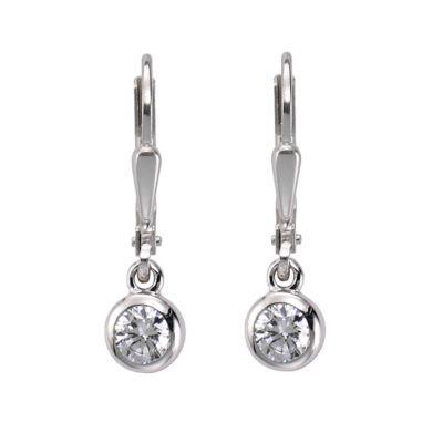 ZEEme Basic Ohrhänger 925/- Sterling Silber Zirkonia weiß