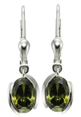 ZEEme Basic Ohrhänger 925/- Sterling Silber Zirkonia olive