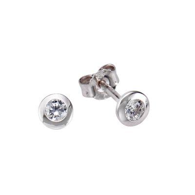 Zeeme Basic Ohrstecker 925/- Sterling Silber Zirkonia weiß 1,8cm Rhodiniert