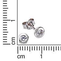 Zeeme Basic Ohrstecker 925/- Sterling Silber Zirkonia weiß 1,8cm Rhodiniert - Produktdetailbild 1