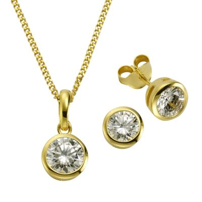 ZEEme Basic Set 925/- Sterling Silber vergoldet Zirkonia weiß