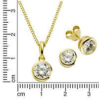 ZEEme Basic Set 925/- Sterling Silber vergoldet Zirkonia weiß - Produktdetailbild 1